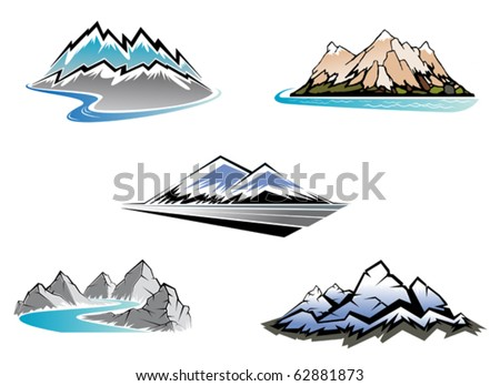Set of mountain symbols for majestic design - also as emblem or logo template. Jpeg version also available in gallery