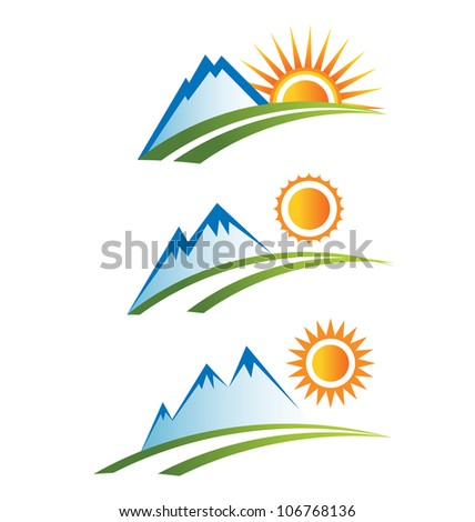 Set Of Mountain With Sun Stock Vector 106768136 : Shutterstock
