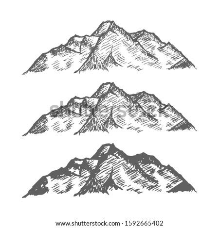 set of mountains peaks  vintage