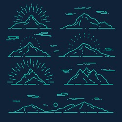 Set of mountains, vector illustration, trendy linear style.