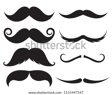 Set of moustache. Decorative elements for booth. Illustrations of accessories or symbols elements. Vector illustration on isolated background. Foto d'archivio ©