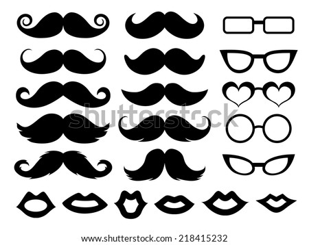 Set of moustaches, glasses and lips Foto d'archivio ©