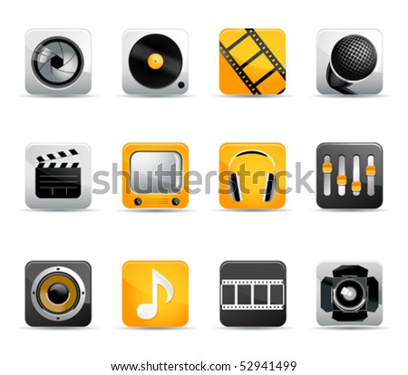 set of movie and music icons