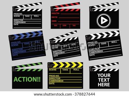 set of movie clapper board