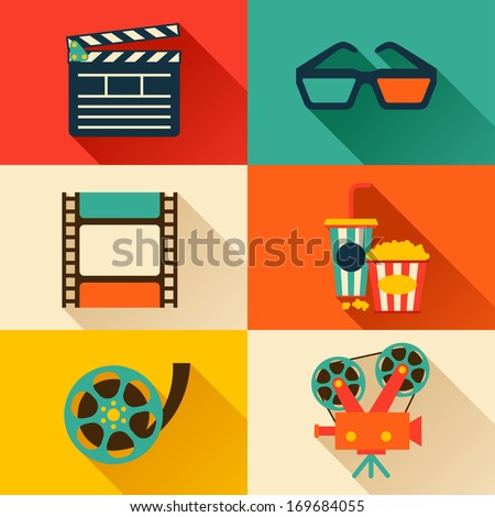 stock-vector-set-of-movie-design-elements-and-cinema-icons-in-flat-style