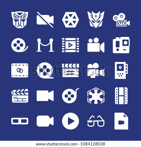 set of 25 movie filled icons
