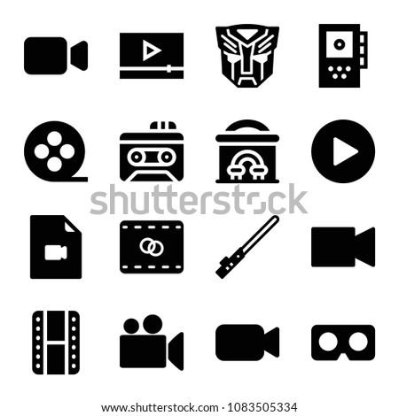 set of 16 movie filled icons