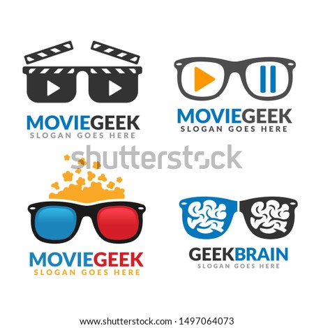Set of movie geek logo template, geek brain, geek logo pack