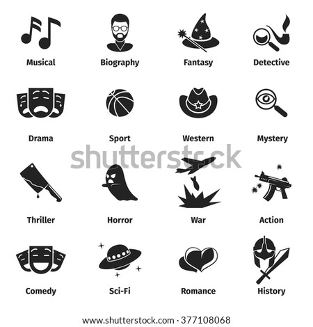 set of movie genres black icons