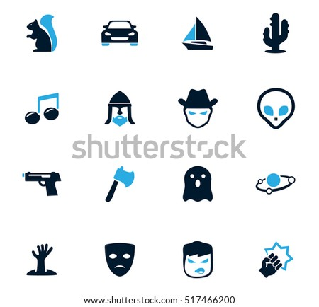 set of movie genres black icons