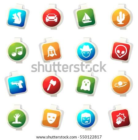 set of movie genres color icon