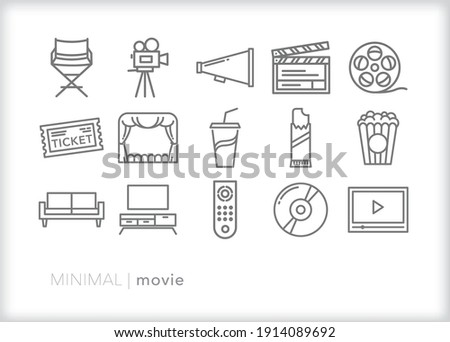 Set of movie icons for film making, watching a premier in a theater, streaming a movie at home with popcorn, candy and soda