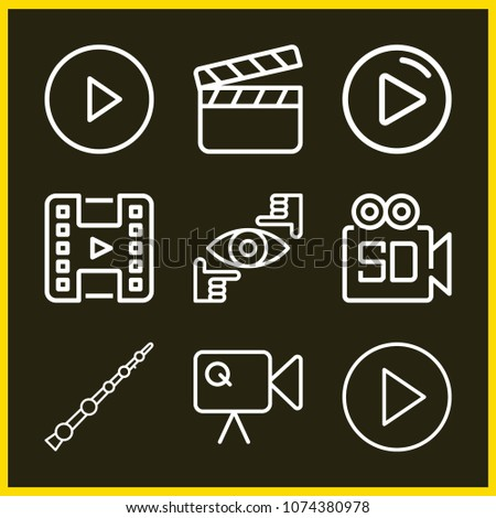 set of 9 movie outline icons