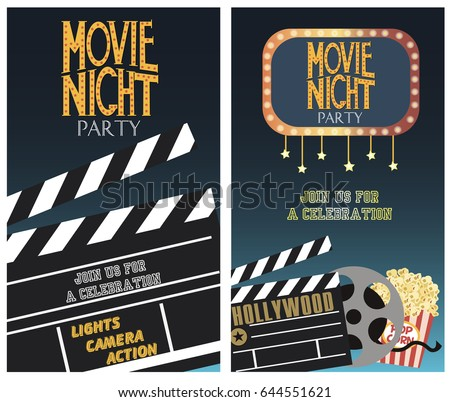 set of movie party invitation