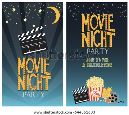 Set of Movie party invitation or greeting cards. Vector illustration