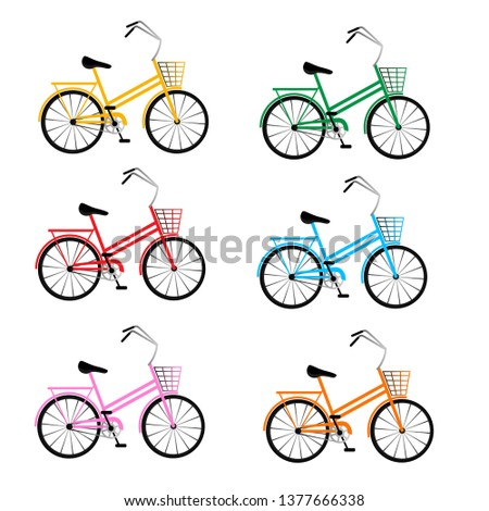 set of multi colored bicycles