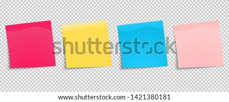 Set of multi-colored stickers. Sticky notes paper. Collection of different colored sheets of note papers with curled corner. Front view. Ready for your message