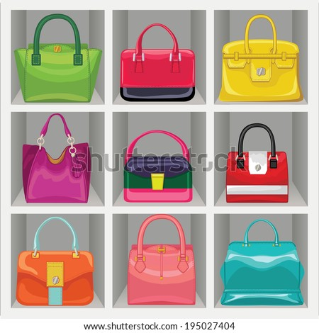 Set of Multi-coloured fashion women's handbag standing in the wardrobe.Casual and festive.Proverb Big saler.Fashion illustration vector