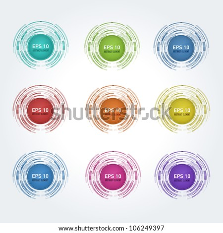 Set of multicolor vector design elements. This vector stickers are fully editable.
