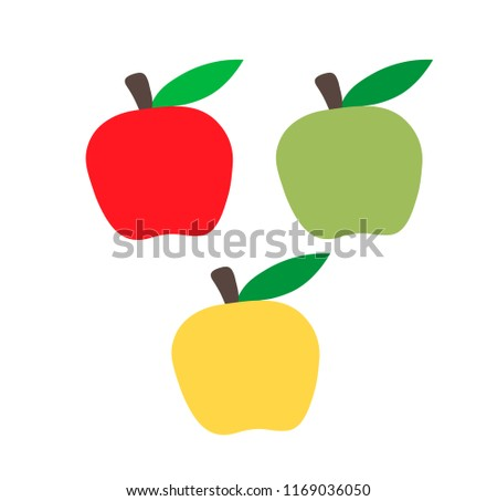 set of multicolored apples red