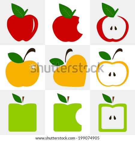 set of multicolored apples