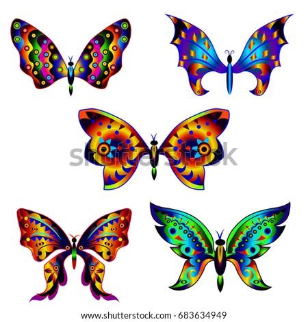 Set of multicolored decorative fantastic butterflies