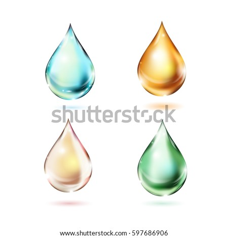 set of multicolored drops with