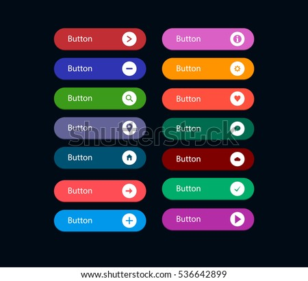 Set of multicolored flat buttons for websites with icons. Vector eps 10