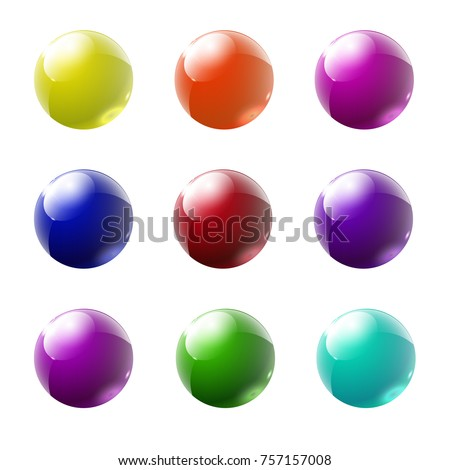 Set of multicolored glass buttons with shadows