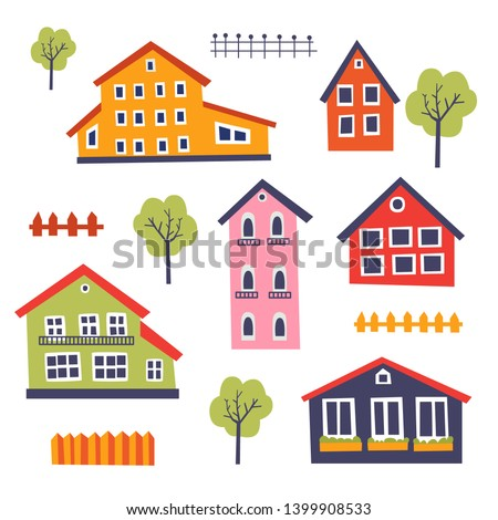 Set of multicolored houses in a funny cartoon style. Template for use in children's design, textiles, books, packaging. Funny vector illustration on white isolated background.