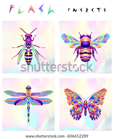 set of multicolored insects