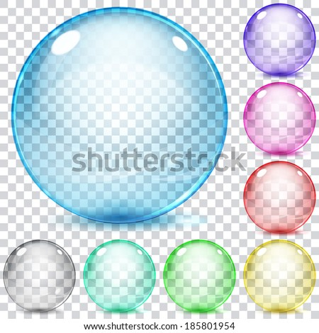 set of multicolored transparent