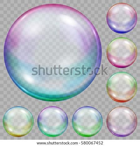 set of multicolored transparent