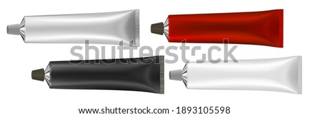 Set of 4 multicolored tubes. Vector illustration of cream or toothpaste tube. Ointment. Salve. Glue tube. Oil paint. Black, red, silver and white metal tubes. Cream container Foto stock ©