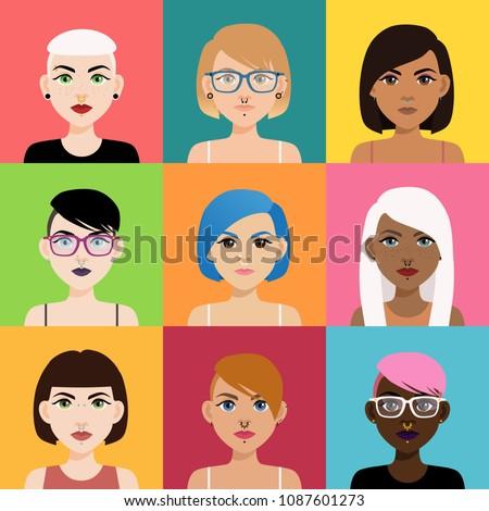 set of multicultural girl