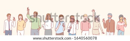 Set of multiethnic people volunteers concept. Group of multinational men and women waving their hands in greeting. Collection of illustrations of people, boys and girls greet, raising hands.