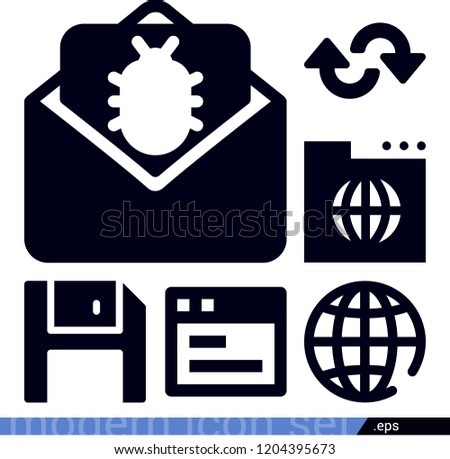 Set of 6 multimedia filled icons such as diskette, webpage, earth grid, world wide web, email