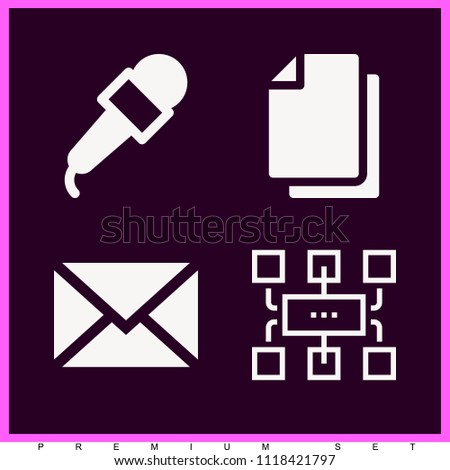 Set of 4 multimedia filled icons such as papers, networking, microphone