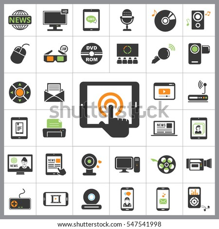 Set of Multimedia Icons. Contains such Icons as Player, 3D, Printer, Microphone, Monitor, Webcam, News, Smartphone and more. Editable Vector. Pixel Perfect.