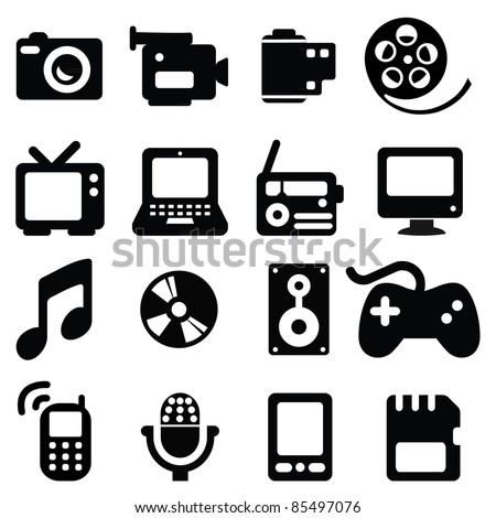 Set of multimedia icons-- Silhouettes