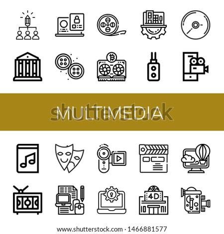 Set of multimedia icons such as Share, Theatre, Laptop, Buttons, Film strip, Vga, Digital business, Remote control, Cd, Video camera, Music book, Television, Theater , multimedia