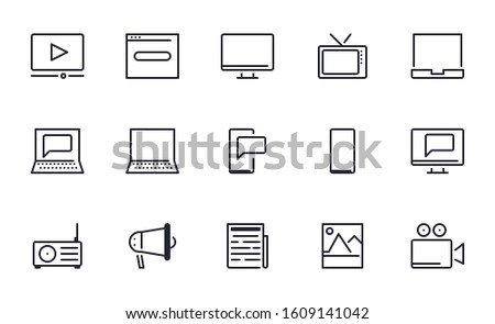 Set of  Multimedia, Media, Entertainment vector icon illustration