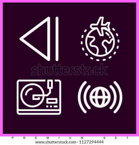 Set of 4 multimedia outline icons such as step back, vinyl record, worlwide