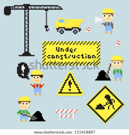 Set of multiple pixel icons on construction theme vector