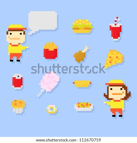 Set of multiple pixel icons on fast food theme, vector