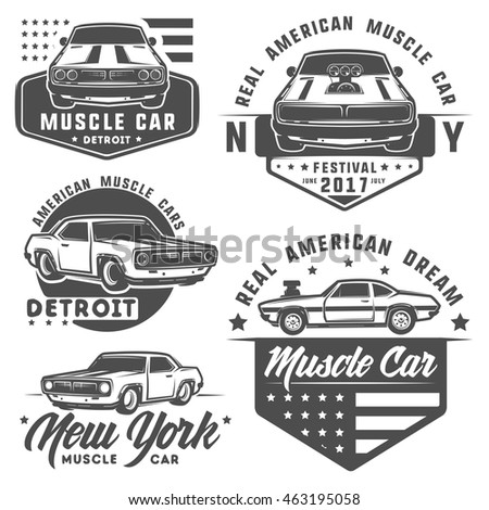 set of muscle car for logo and