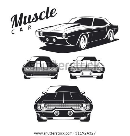 Set of muscle car illustrations isolated on white background. Front view and isometric view. Car isolated on white background