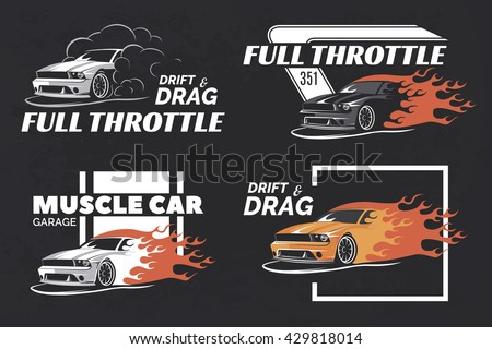 set of muscle logo badges and emblems on dark grunge background service car repair - Racing T Shirt Design Ideas