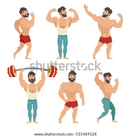 Set of muscular, bearded mans vector illustration. Fitness models, posing, bodybuilding. Isolated on white background Stock photo ©
