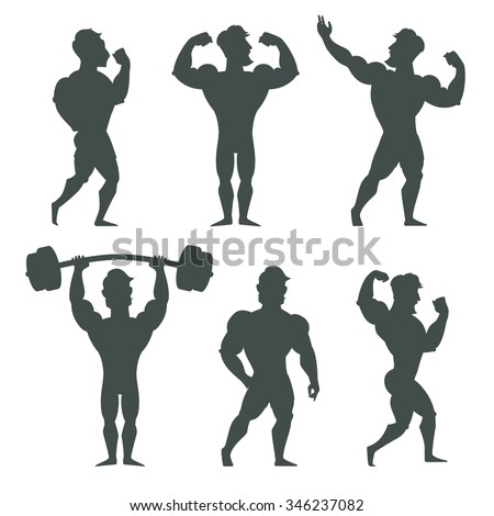 set of muscular bodybuilder man